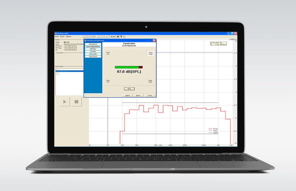 Software zur Hintergrundgeräusch-Wiedergabe HAE-car auf dem Laptop