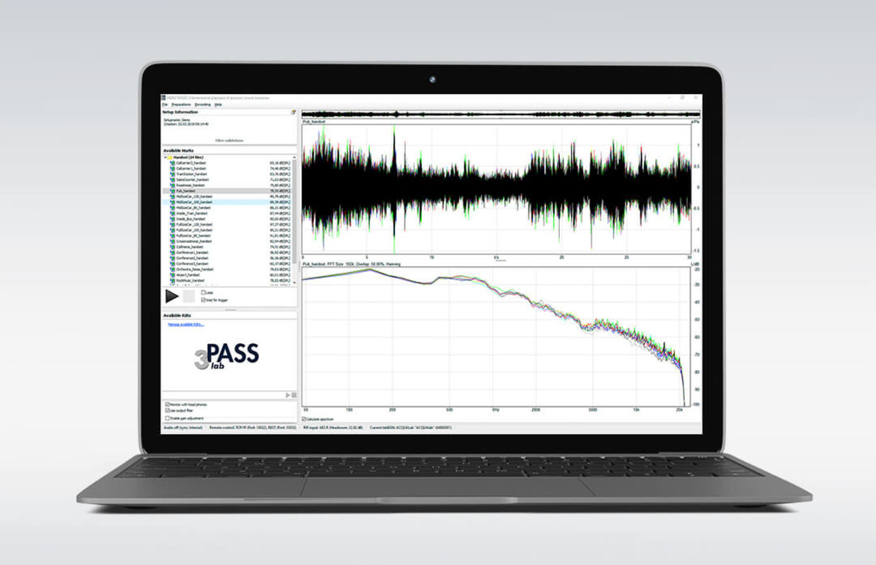 Software zur Hintergrundgeräusch-Simulation 3PASS lab auf dem Laptop