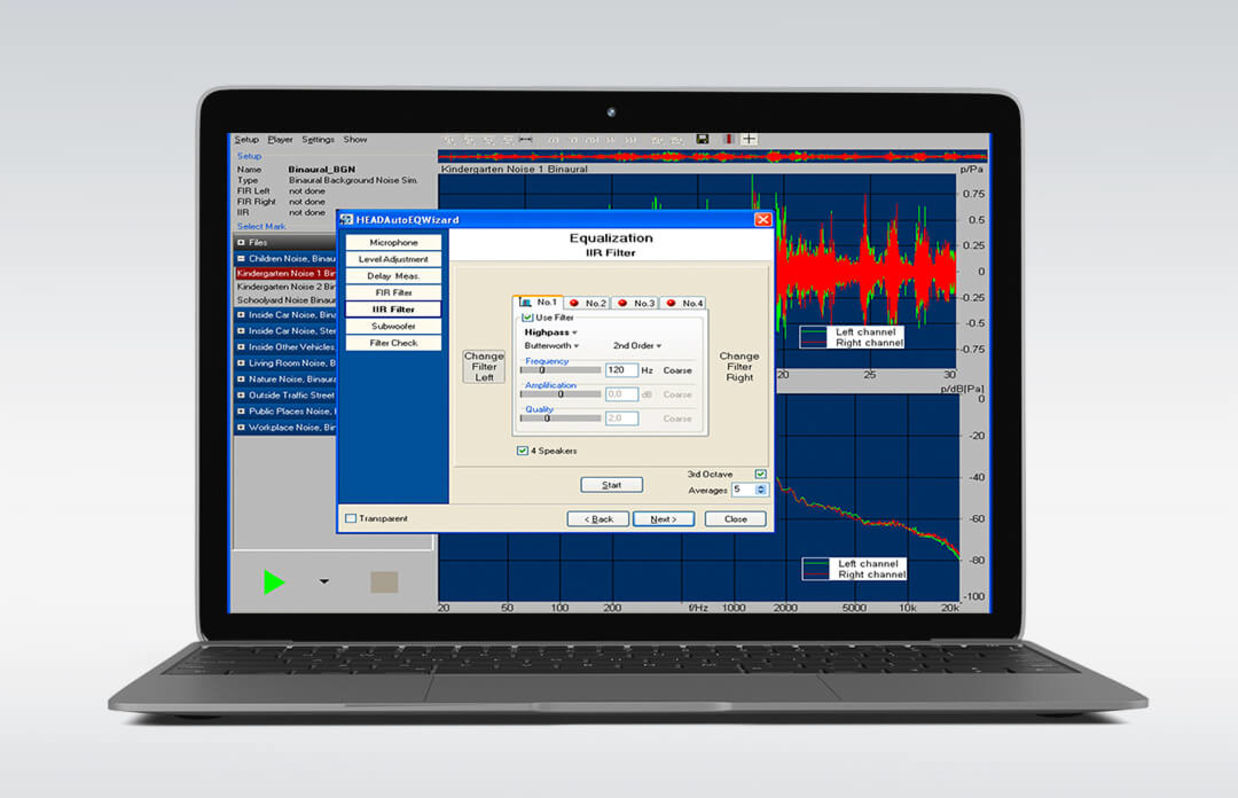 Background noise playback software HAE-BGN on a laptop