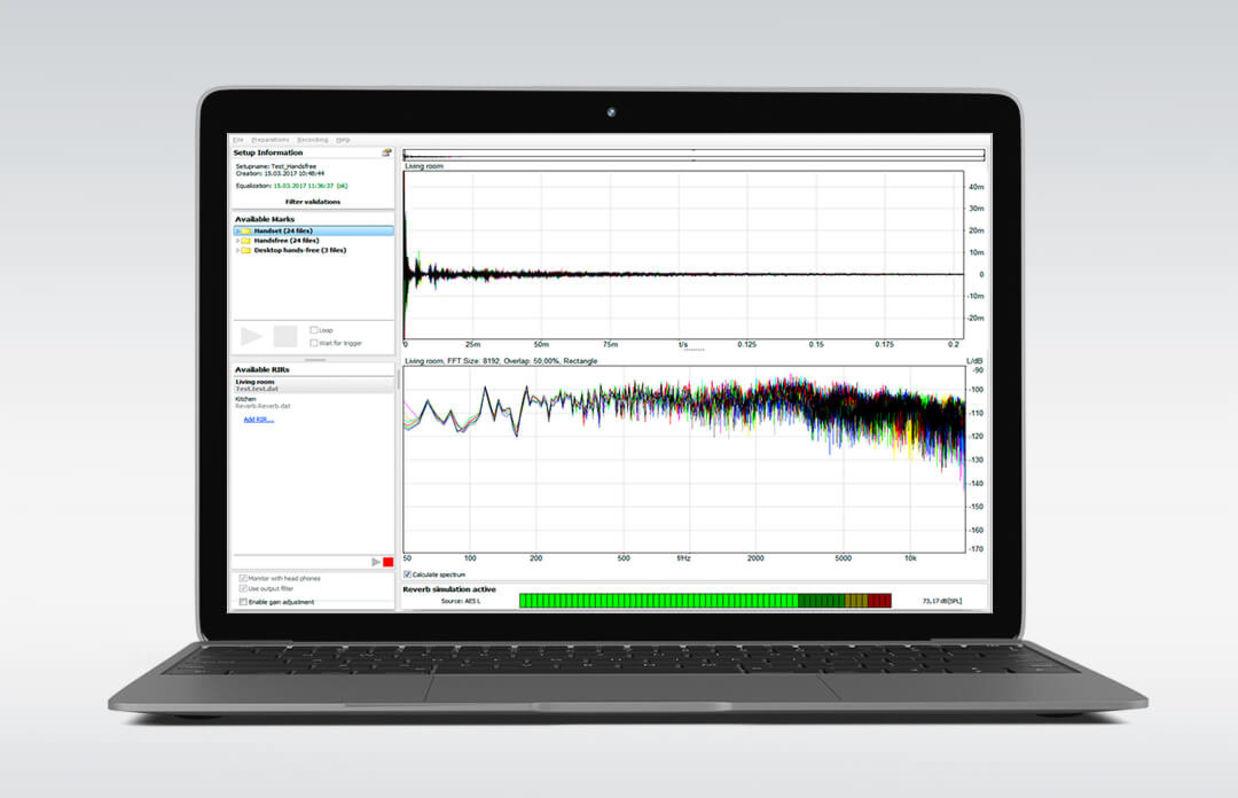 Software 3PASS reverb zur Simulation von räumlichem Nachhall auf dem Laptop