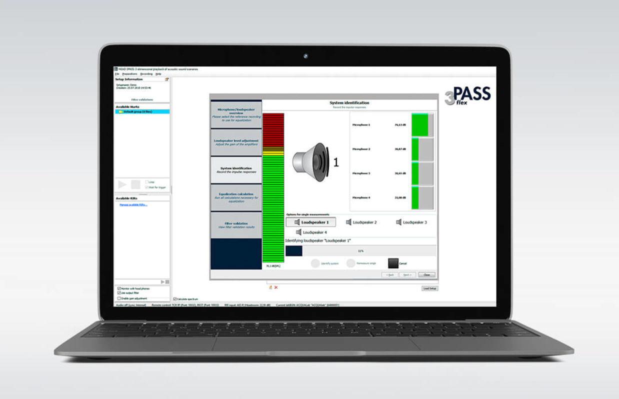 Background noise simulation software 3PASS flex on laptop