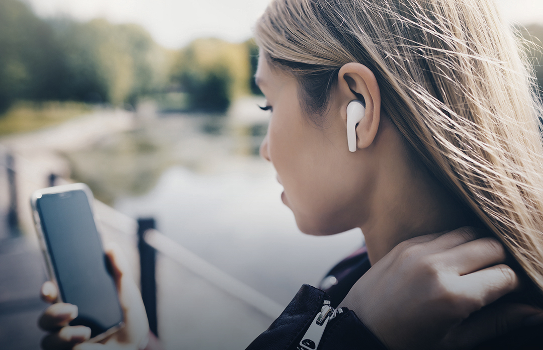 girl in chat communication with wireless headphones