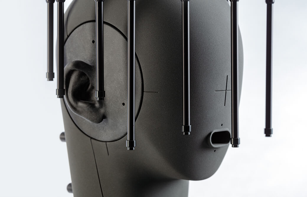 Close up of microphone array MSA I mounted on an artificial head